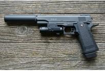 Пистолет страйкбольный Galaxy G.6A (COLT 1911PD с глушителем и ЛЦУ) кал. 6мм