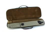 VEKTOR Чехол из синтетической ткани с кожаной отделкой, с поролон и подкладк из флока для двуствольн ружья в разобр виде