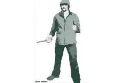 Мишень для травматического оружия Бандит с ножом, 720*1500мм, картон Ладога